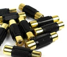 Female to Female RCA Coupler Joiner barrel BLACK 10 Pack  pieces GOLD connector
