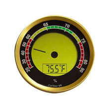 Caliber 4R Round Digital Hygrometer & Thermometer - Gold