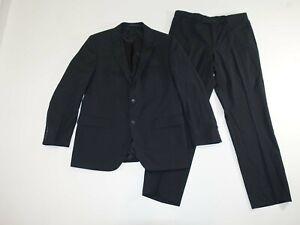 Hugo Boss Men's James 5 Sharp 7 Suit Size 42 Regular 35 x 31 Black Striped Wool