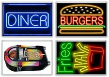 American Diner Fridge Magnet Set. NEW. Neon Signs, Retro Jukebox. USA. Fast Food