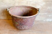 Vintage Antique Brass Bucket With handle Fireplace decor