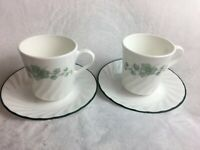 Set of 2 CORELLE CORNING Callaway Green Ivy Coffee Tea Cups & Saucers Excellent