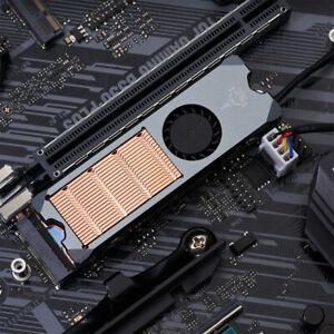 M.2 NVME PCIE SSD Cooler Copper Substrate Heatsink Radiator Fin 4Pin PWM Min Fan