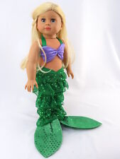 """Little Mermaid Inspired Costume Fits 18"""" American Girl Doll Clothes"""