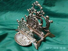 Collectable Vintage Brass: Three Tier Ornate Letter / Napkin Rack with Pin Tray