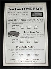 1910 OLD MAGAZINE PRINT AD, DYKES, NEVER KREEP BLOW-OUT PATCH, FOR TIRE TROUBLE!