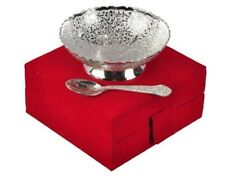 Designer Silver Brass Serving Bowl Spoon Set With Wooden Box For Home Decoration