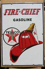 1945 Texaco Fire Chief Gasoline Pump Plate Sign Vintage porcelain unused