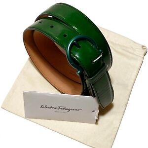 Ferragamo ITALY Green Leather Belt Gancio Buckle 26 28 30 32 34 36 38 40 42 44