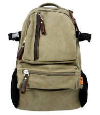 """Canvas 14"""" Laptop Backpack with Leather Trim and 2 Drink Bottle Pockets - Khaki"""