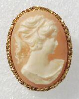 broche rétro déco relief couleur or petit camée buste femme 3776