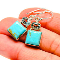 "Arizona Turquoise, Blue Topaz Silver Earrings 1 3/8"" Ana Co Jewelry E411664F"
