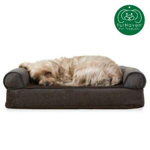 Furhaven Pet Dog Bed | Orthopedic Faux Fleece  Chenille Sofa-Style Couch Pet Be