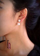 Boucles d`Oreilles Clous Fleur Trèfle Perle Nacre Blanche Vintage Mode AA 14