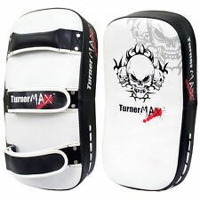 TurnerMAX MMA Kick Muay Thai Boxing Pads White Black Curved Single