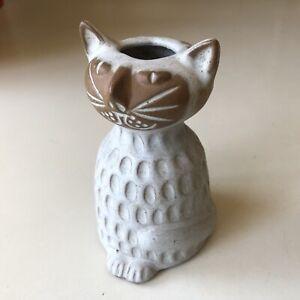 David Stewart Lion's Valley Stoneware Small Cat Vase Candleholder California