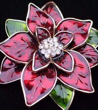 NIB DANA BUCHMAN RED RHINESTONE CHRISTMAS POINSETTIA FLOWER PIN BROOCH JEWELRY