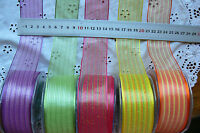 Sheer Pull-Flower BOW Wired Multi Coloured Stripes 3 Metres 5 Colour Choice BL5