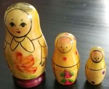 "Vintage 1980's Russion Babushka Nesting Dolls Set x3 Wood 1.5"", 2"", 3"""
