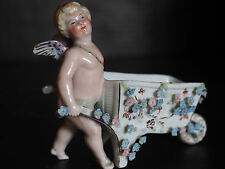 Antique German Dresden Angel Cherub Putti w Wheelbarrow Applied Flowers Moveable