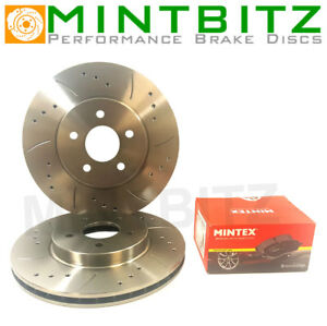 Citroen C4 Coupe 2.0 VTS 04-08 Drilled & Grooved Front Brake Discs & Mintex Pads