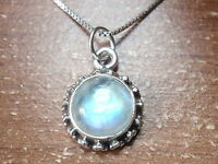Small Round Moonstone Accented 925 Sterling Silver Pendant