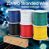 COPPER WIRE 22 AWG PVC STRANDED TINNED 30 FT INSULATED ELECTRIC WIRE 300V CABLE