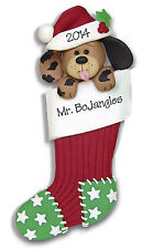 Dog in Large STOCKING Personalized Christmas Ornament HANDMADE Polymer Deb & Co.