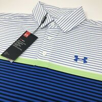 Under Armour Heat Gear Loose Mens Small S Blue Green Striped Golf Polo Shirt New