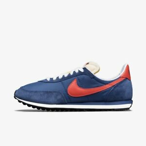 New Nike Waffle Trainer 2 Shoes Sneakers (DB3004-400) - Midnight Navy/ Orange