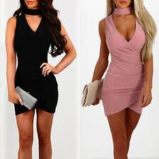 Damen V-Ausschnitt  ÄrmellosBodycon Minikleid Partykleid Sommerkleid S-XL