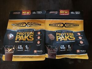 2 NEW BAGS OF BODY FORTRESS PROTEIN PAKS 18 IN EACH  EXP. FEB 2021 Chocolate🔥🔥
