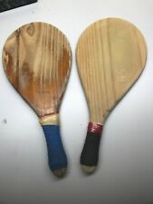 Vintage set of 2 wood beach paddle racquets - Unbranded (FF)