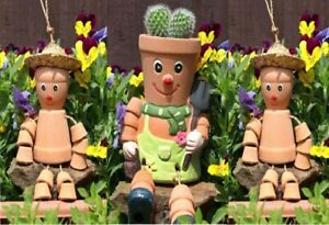 Set Of 3 Bill & Ben Terracotta Flower Plant Pot Man Garden Ornament Decor Gift.