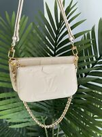 Louis Vuitton M8047 Multi Pochette Accessoires Cream Monogram Empreinte - New