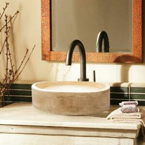 """Natural Stone Hand Carved Classic Travertine Vessel Sink- 16.5""""x5.9"""" (42x15)"""