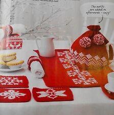 KNITTING PATTERN Fair Isle Chirstmas Tea Set Cosy Coasters Mat Snowflake PATTERN