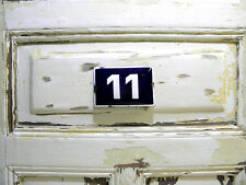 Vintage Sign House Door Number 11, Blue and White Enamel Metal Street Sign