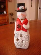 """Porcelain Snowman - Lights up and changes colors - 7"""" Tall"""
