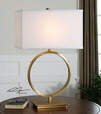 Contemporary Large Brass Circle Open Table Lamp