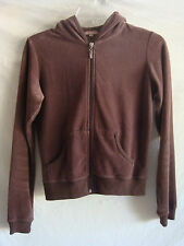AUTH GADZOOKS LONG SLEEVE VELOUR HOODED CARDIGAN SWEATER PREOWNED BROWN SZ S