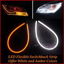 2 x TUBE Style White-Amber Switchback Headlight LED Strip DRL Daytime Light 60Cm