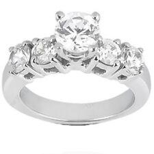 2 carat Engagement ROUND DIAMOND RING 5 stone 14k White Gold BAND 1.10 ct center