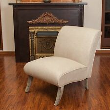 Contemporary Beige Linen Armless Slipper Accent Chair