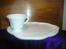 Colony, Harvest Pattern, Milk Glass, Snack Tray w/ Cup