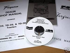 FERGUSON TE20 T20 TRACTOR FACTORY WORKSHOP MANUAL + Service & Owner books CD