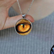Silver Chain Pendant Necklace Jewelry Vintage Dragon eye Photo Cabochon Glass