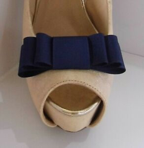 2 Navy Grosgrain Triple Bow Clips for Shoes - other colours on request