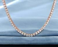 Womens 14k Rose Gold Plated 3mm Tennis Choker Necklace with Swarovski Crystals