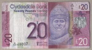 CLYDESDALE BANK OF SCOTLAND  £20 NOTE PREFIX W/NQ 628007  2015  FREEPOST